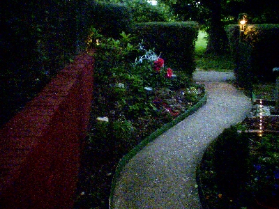 The Front at night with new edging in place